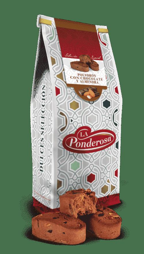 Polvorón con chocolate y almendra
